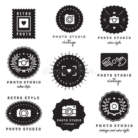 Photo Studio Logo Badges Vintage Vector Set Hipster And