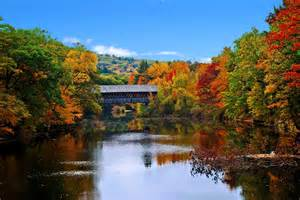New England Fall Foliage Covered Bridge