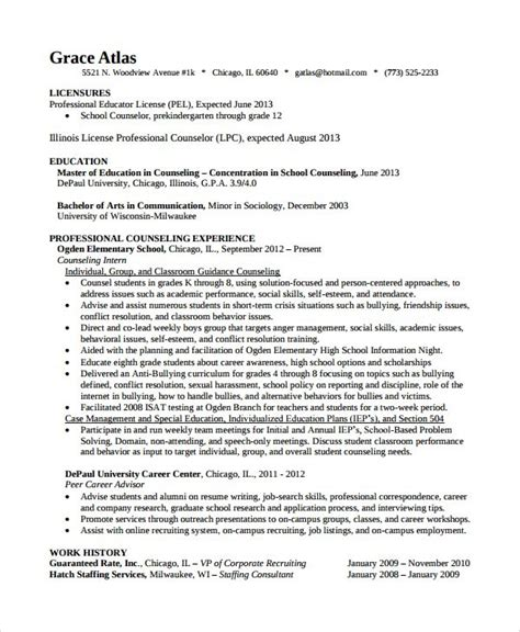 Career Development Counselor Resume by College Career Counselor Resume 28 Images Lcjs School Guidance Counselor Sle Resume