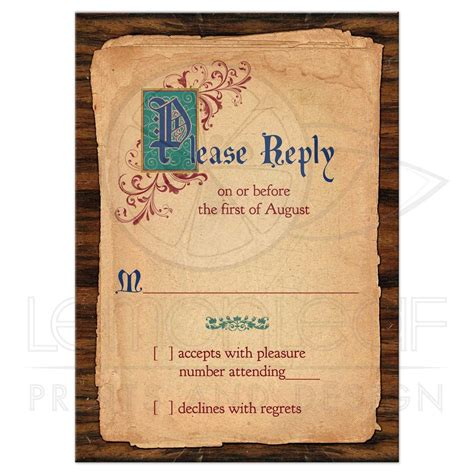 Fairy Tale Wedding RSVP Card Medieval Once Upon A Time