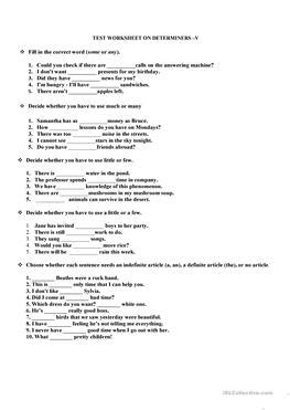 29 free esl determiners worksheets