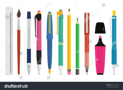 Paint Writing Tools Collection Pen Pencil Stock Vector 153270938 Shutterstock