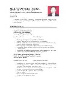 resume format for ojt information technology students should know format for a resume exle