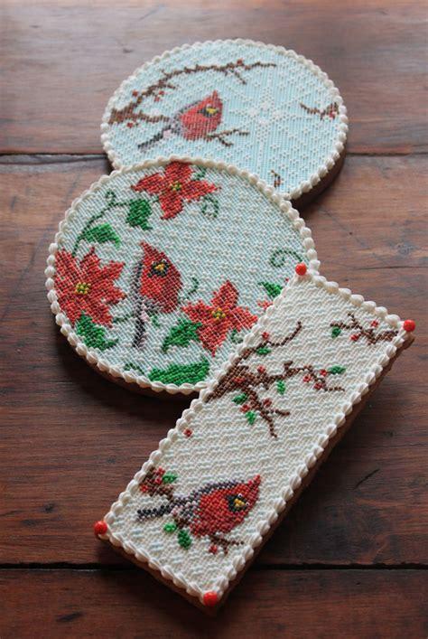christmas cardinal needlepoint cookies cakecentralcom