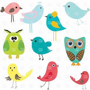 Stylized cute cartoon birds, 21245, Plants and Animals ...