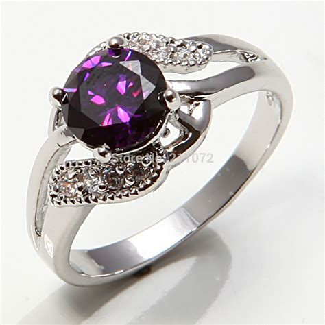 Jewelry 10k White Gold Filled Amethyst Women's Engagement