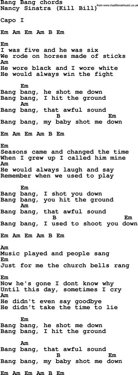 Song Lyrics With Guitar Chords For Bang Bang