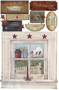 Outhouse window signs giant wall stickers decals country