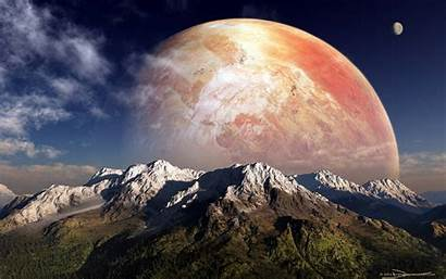 Planet Alien Wallpapers Mountains Sky Mountain Space