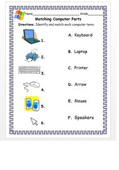 kindergarten 1st grade matching computer parts with the