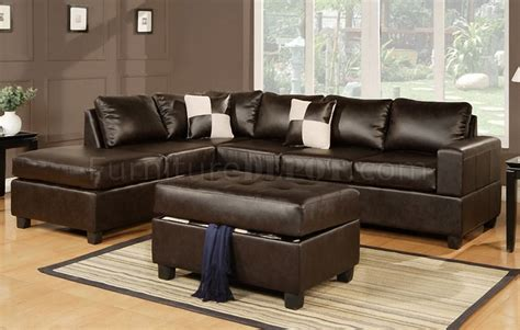 espresso leather sectional sofa f7351 sectional sofa in espresso bonded leather by poundex