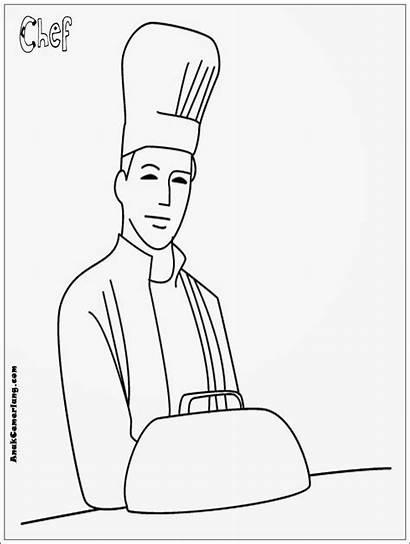 Gambar Mewarnai Chef Masak Profesi Juru Kartun
