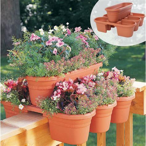 Banister Planters by Rail Modular Planter Flower Plant Herbs Pot Garden Holder