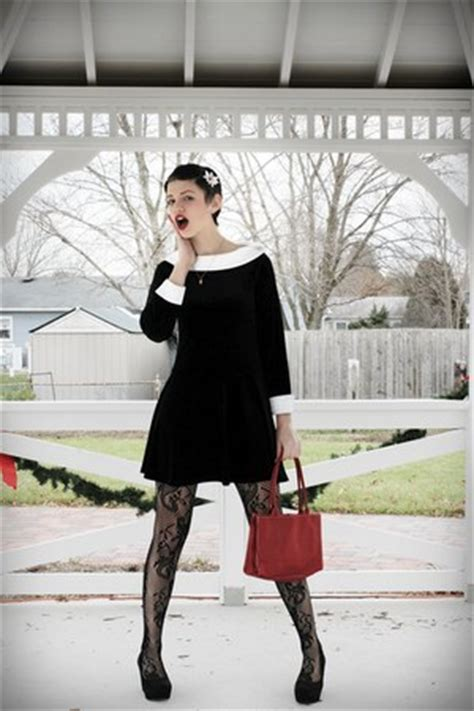 black velvet dress dresses black tights brick red red