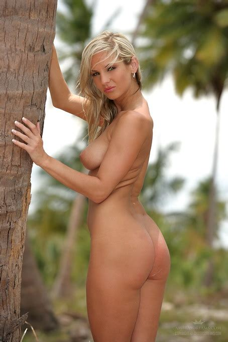 Hot Blonde Girl Naked Outdoors As The Wind Blows Her Hair