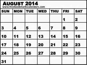 Blank August 2014 Calendar Printable