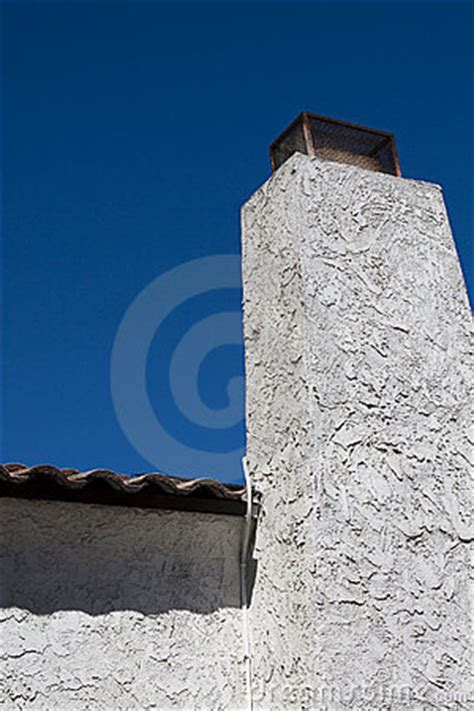 white stucco chimney stock image image  concrete clean