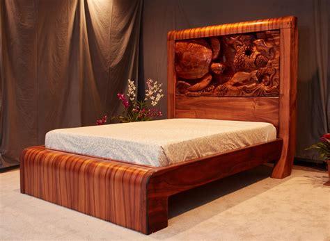 mdesign hawaii custom woodworks koa wood bed  carved