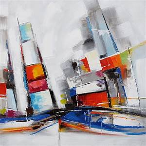 Tableau Peinture Sur Toile : tableau city xxl peinture absraite sur toile ~ Teatrodelosmanantiales.com Idées de Décoration