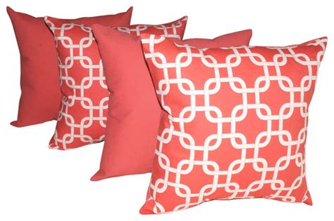 Coral Color Decorative Pillows by Premier Prints Gotcha Coral And Solid Coral Decorative