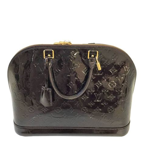louis vuitton alma vernis monogram embossed patent dark purple vintage handbag