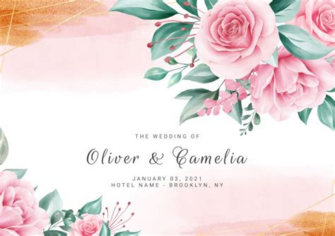 Watercolor floral background for wedding invitation card