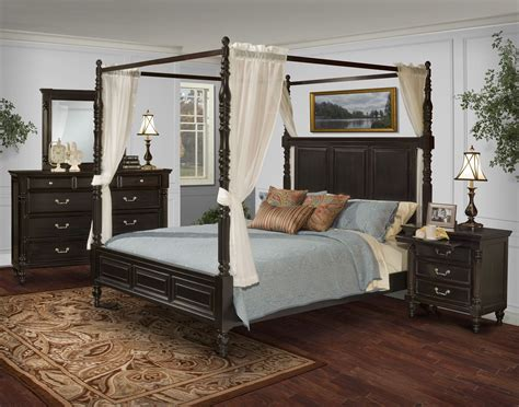 martinique rubbed black canopy bedroom set  drapes