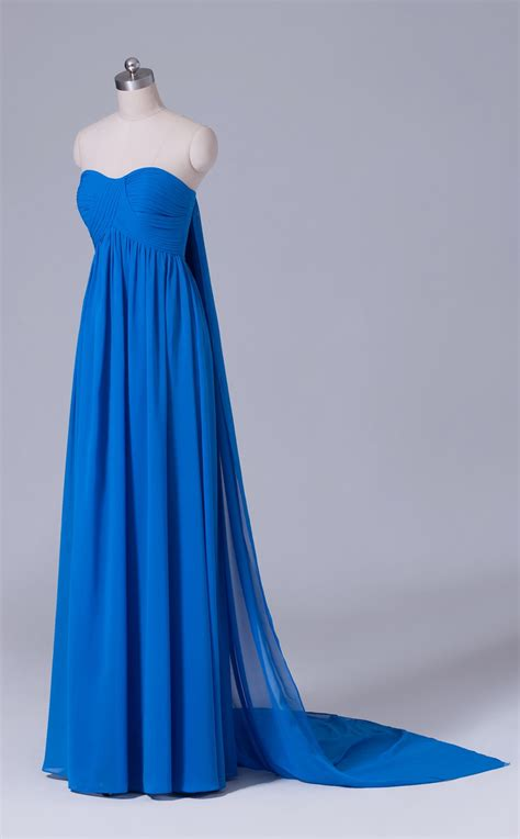 blue chiffon sweetheart neckline long bridesmaid dress