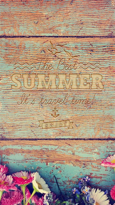 summer travel time wood writing iphone  wallpaper ipod