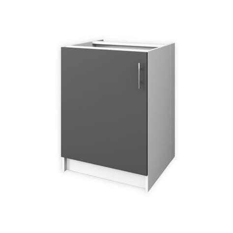 meuble de cuisine 60 cm obi meuble bas de cuisine l 60 cm gris mat achat