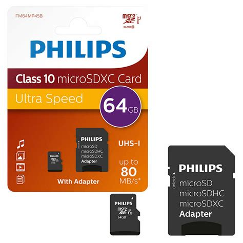 gb philips micro sd sdxc memory card class   full