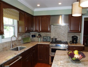 colonial gold counters  faux brick backsplash traditional kitchen philadelphia