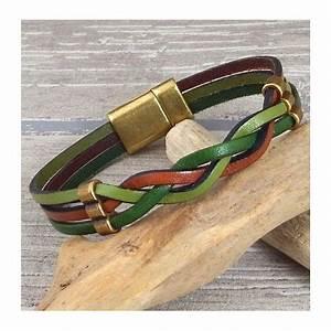 Bracelet Tendance Du Moment : kit bracelet cuir automne en couleurs vert et marron tresse 3 lacets cuir avec perles et fermoir ~ Dode.kayakingforconservation.com Idées de Décoration