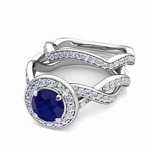 18k gold bridal set infinity diamond sapphire engagement With sapphire and diamond wedding ring sets