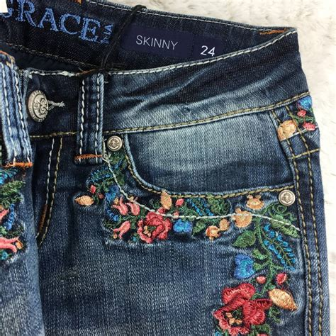 skinny rose garden embroidered jeans theblingboxonlinecom