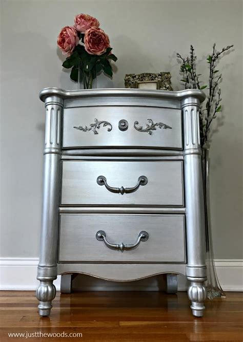 how to paint furniture with the best silver metallic paint