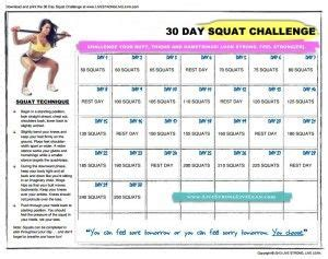 day squat challenge printable chart  day squat