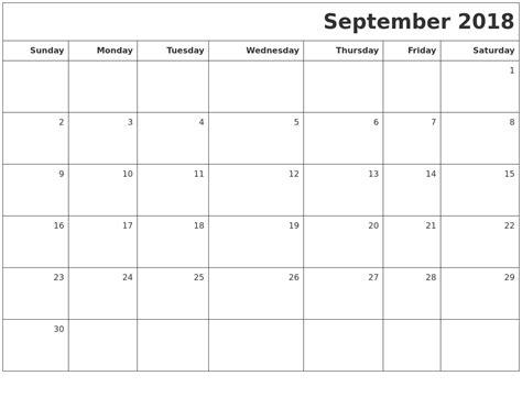 september  printable blank calendar