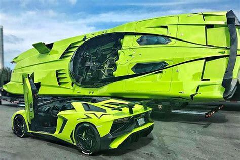 green lamborghini aventador    matching speedboat shouts