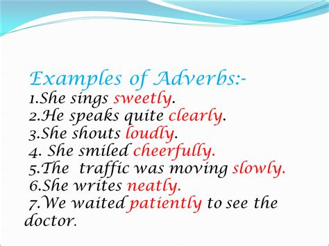 Examples of adverbs of place. Adverbs - Presentation English Language