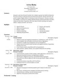 Personal Resume Template Personal Assistant Cv Exle For Admin Livecareer