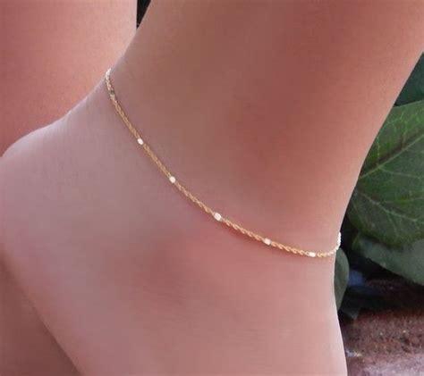 ankle bracelet simple chain anklet shiny bar