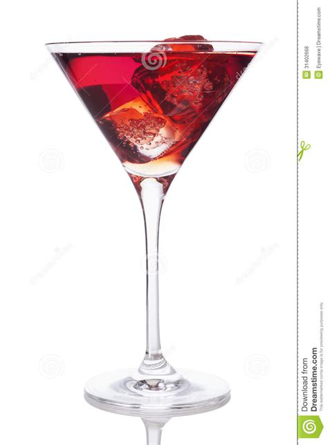 red martini red drink in martini glass with ice cubes royalty free
