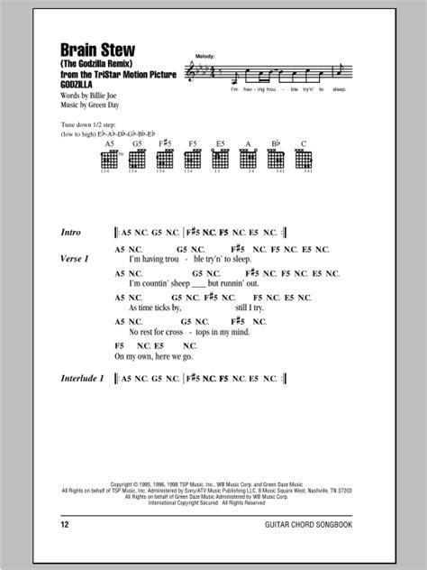 brain stew godzilla guitar chords tab remix sheet lyrics song leonard hal
