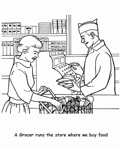 Coloring Pages Labor Sheets Colouring Grocery Grocer