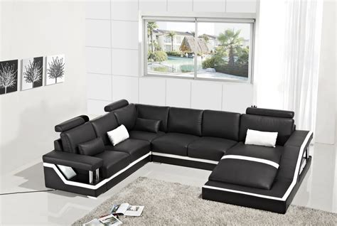 T271 Modern Black Leather Sectional Sofa