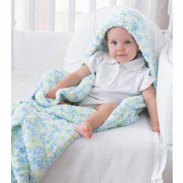 Mary Maxim - Free Baby Blanket with Hood Knit Pattern