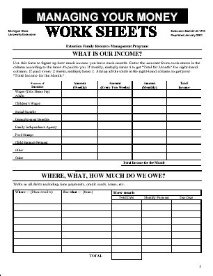managing your money worksheets paper