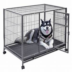 43 inch heavy duty large metal dog crate tray dog cage for Dog run cage enclosure