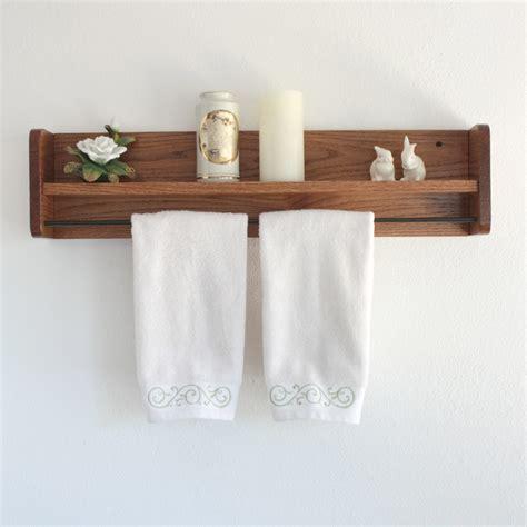 bathroom shelf with towel bar wood wood towel rack with shelf towel bar solid oak wooden